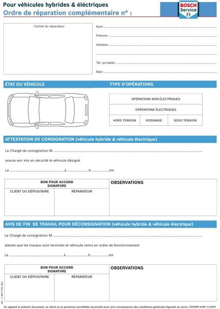 liasses ordres de r paration hybride boutique bosch car services. Black Bedroom Furniture Sets. Home Design Ideas